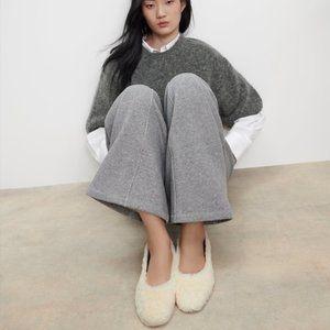 Zara Square Toe Fur Ballet Flat Ecru White Size 8